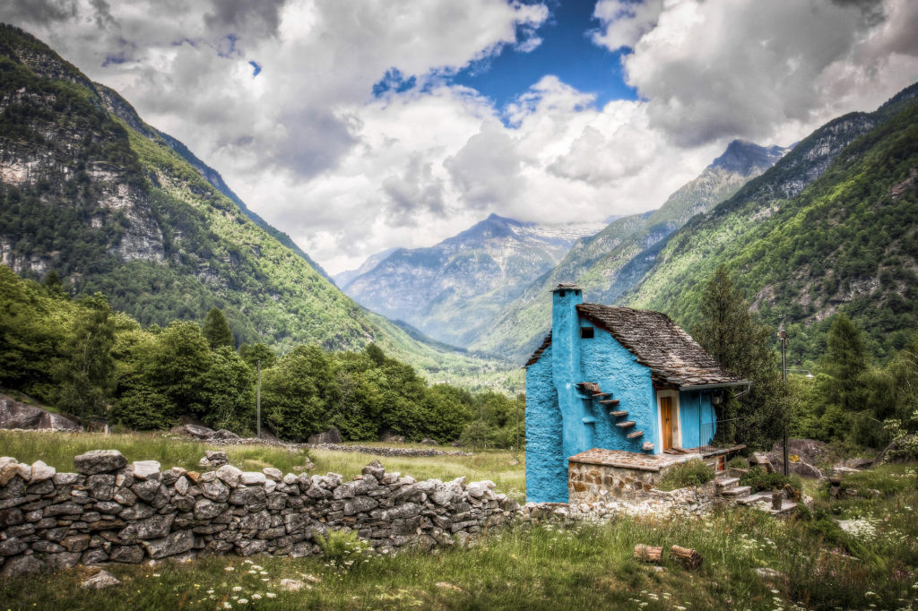 Blue home in the mountain